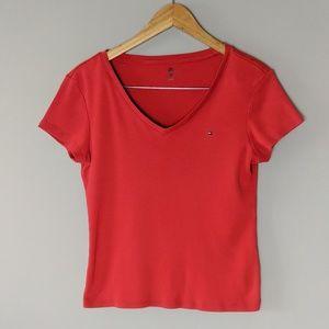 Tommy Hilfiger Red V Neck Logo T Shirt sz Large